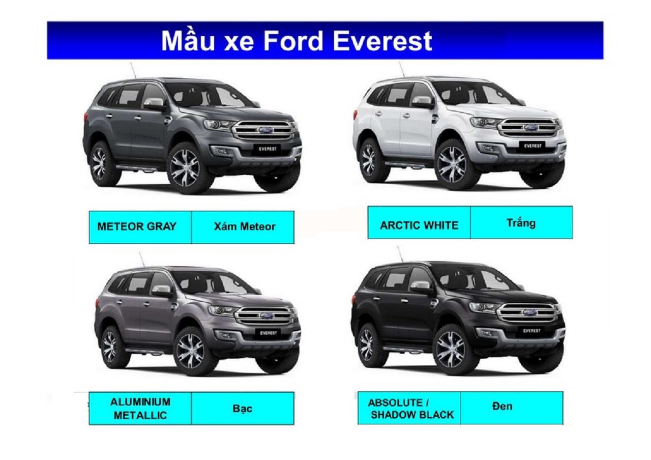 Bảng màu xe Ford Everest