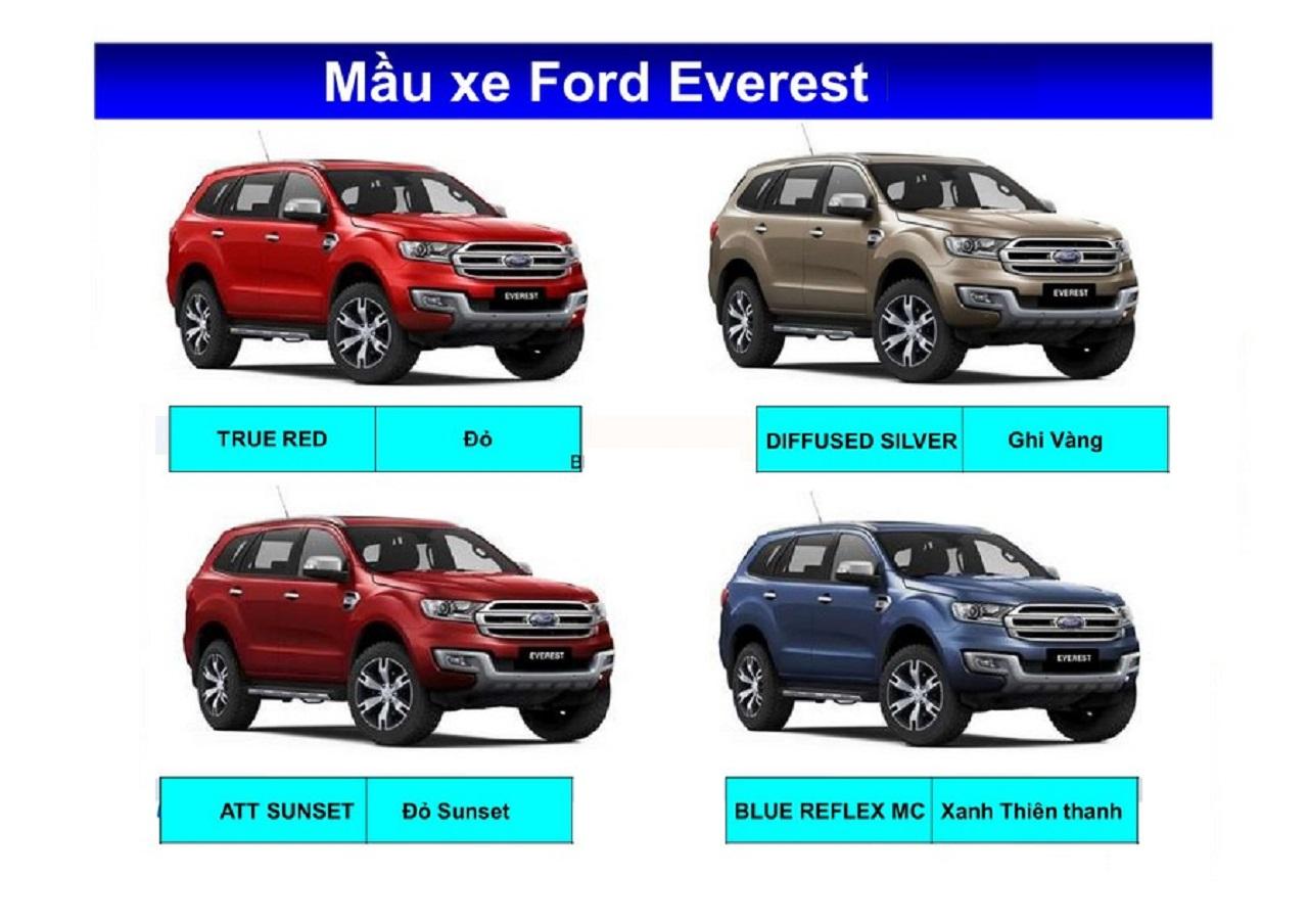 Bảng màu xe Ford Everest mới