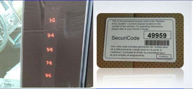 Mở khóa sử dụng mã số trên cánh cửa Ford Explorer