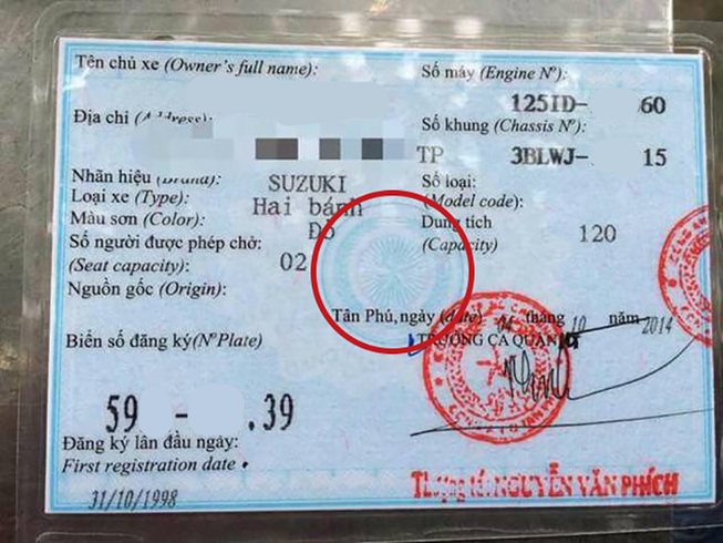 Cách nhận biết giấy đăng ký xe, Cavet xe thật hay giả 2