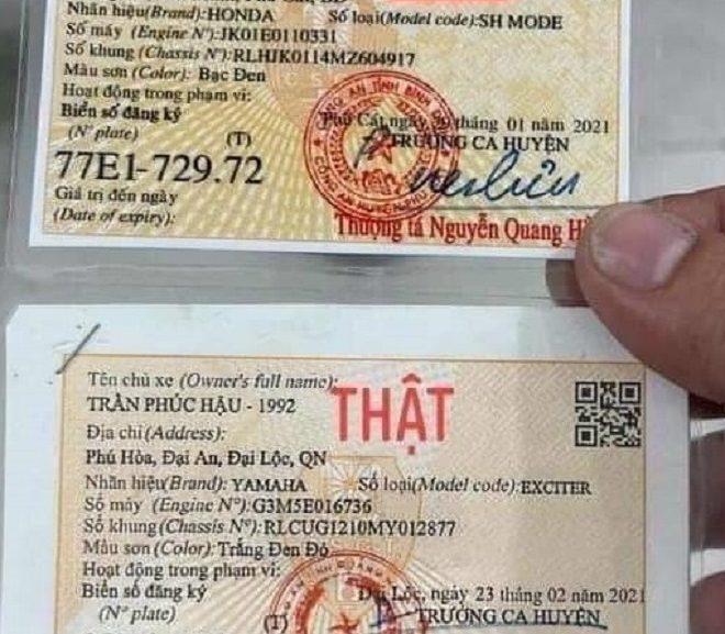 Cách nhận biết giấy đăng ký xe, Cavet xe thật hay giả 1