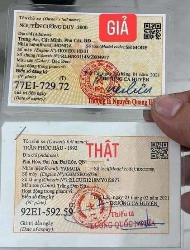 Cách nhận biết giấy đăng ký xe, Cavet xe thật hay giả