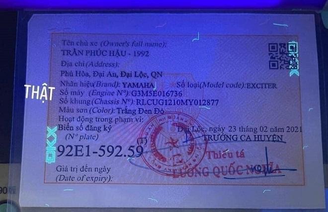 Cách nhận biết giấy đăng ký xe, Cavet xe thật hay giả 12