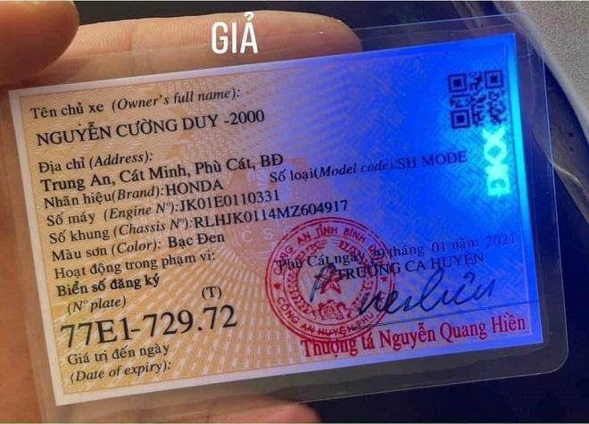 Cách nhận biết giấy đăng ký xe, Cavet xe thật hay giả 8